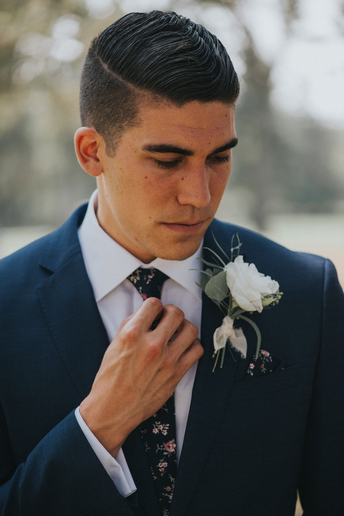 A White and Blush Napa Valley Summer Wedding Navy suit