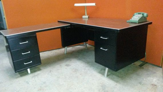 Vintage L Shaped Steel Tanker Desk Black Body Wood Grain Top Nickel Hardware Excellent Condition
