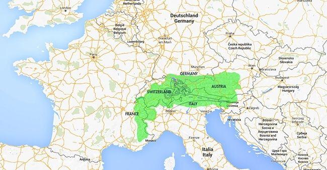 The Alps On World Map the alps on world map printable us maps 650 X ...