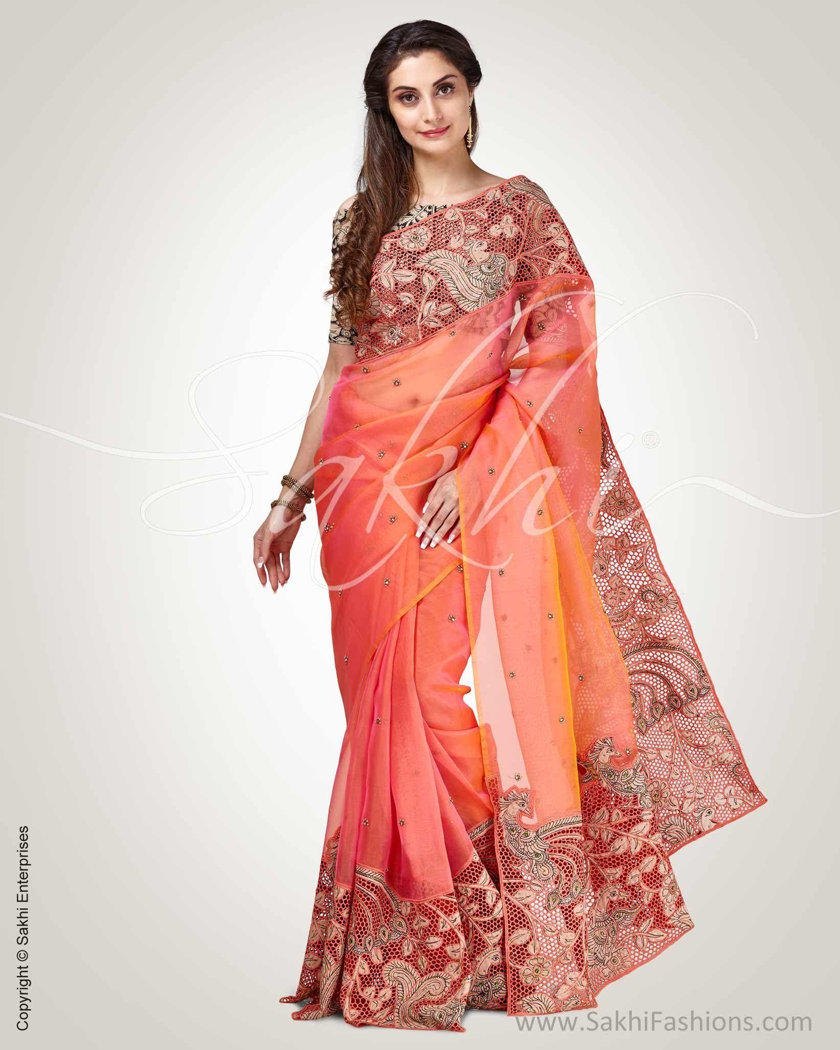 6ce8859b02 Stunning Peach & Cream Pure Organza Silk Saree elaborated with sakhi's  signature cut work design in kalamkari peacock. #design #fashion #stylish # organza ...