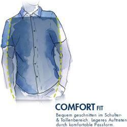 CasaModa Herren Hemd Kurzarm, Comfort Fit, Baumwolle, blau-weiß-orange gemustert CasaModa
