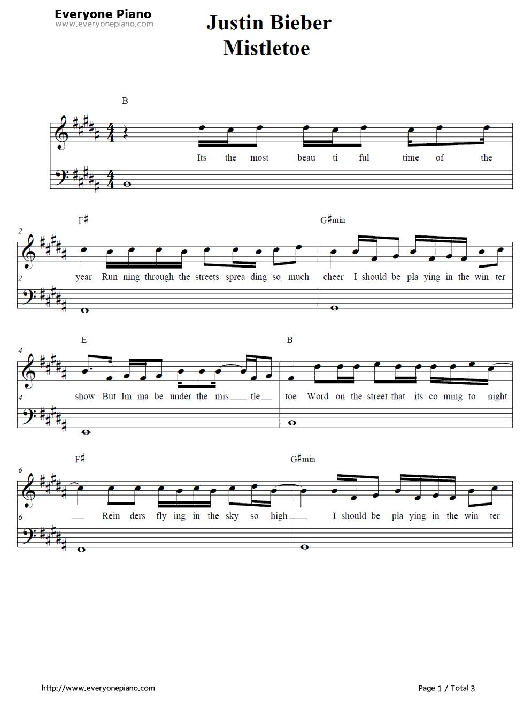 Free Mistletoe Justin Bieber Piano Sheet Music Preview 1 Free