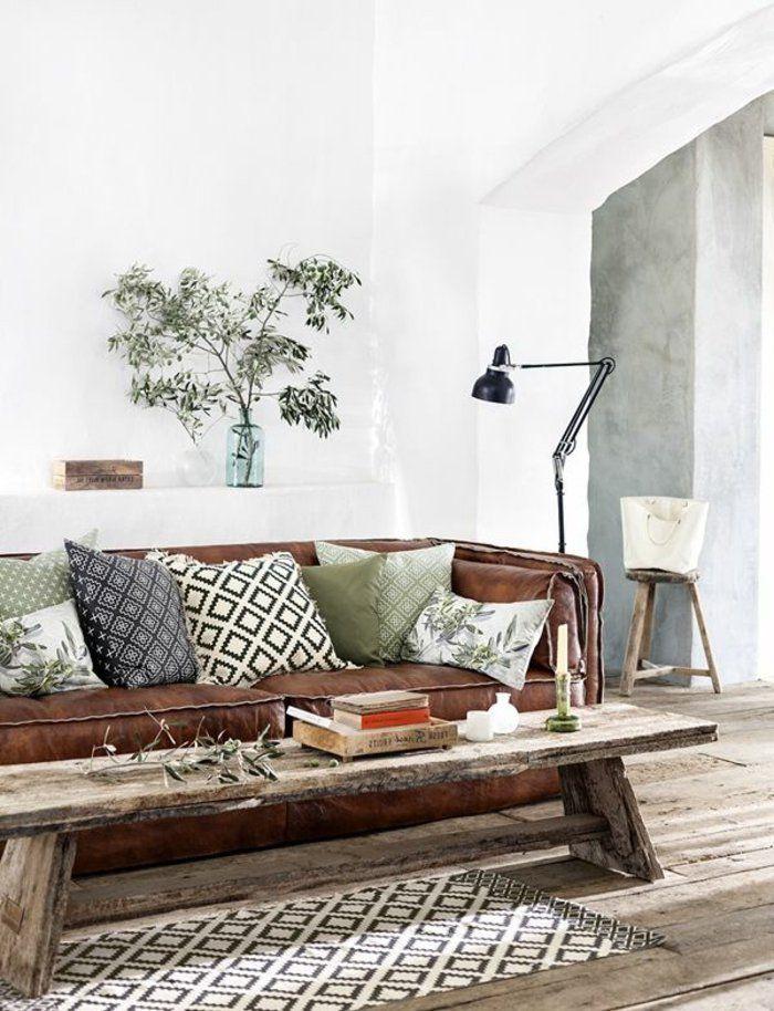 Beaucoup d\'idées pour comment décorer son salon | Brown sofas with ...