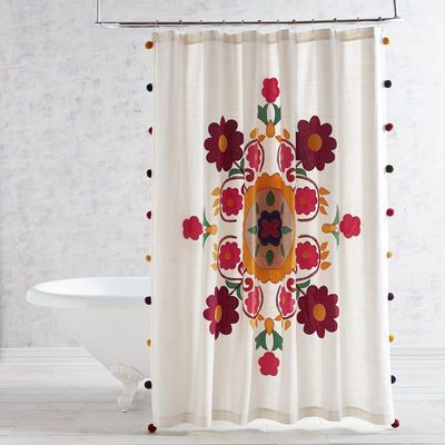 Embroidered Appliqued Medallion Shower Curtain With Images