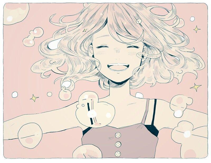 Manga Girl Happy 儚い アニメイラスト イラストアート アニメ