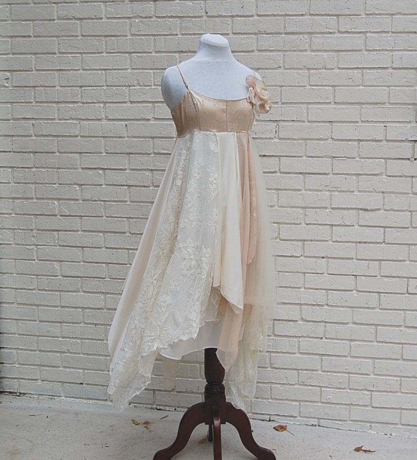 Wedding Dress, Tattered Fairy Woodland Slip Dress, Formal, Boho ...