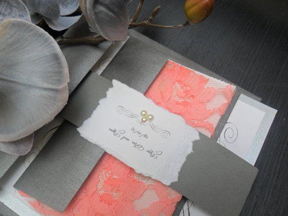 Lace Wedding Invitation The Venetian On Peach By Inkandlove 525