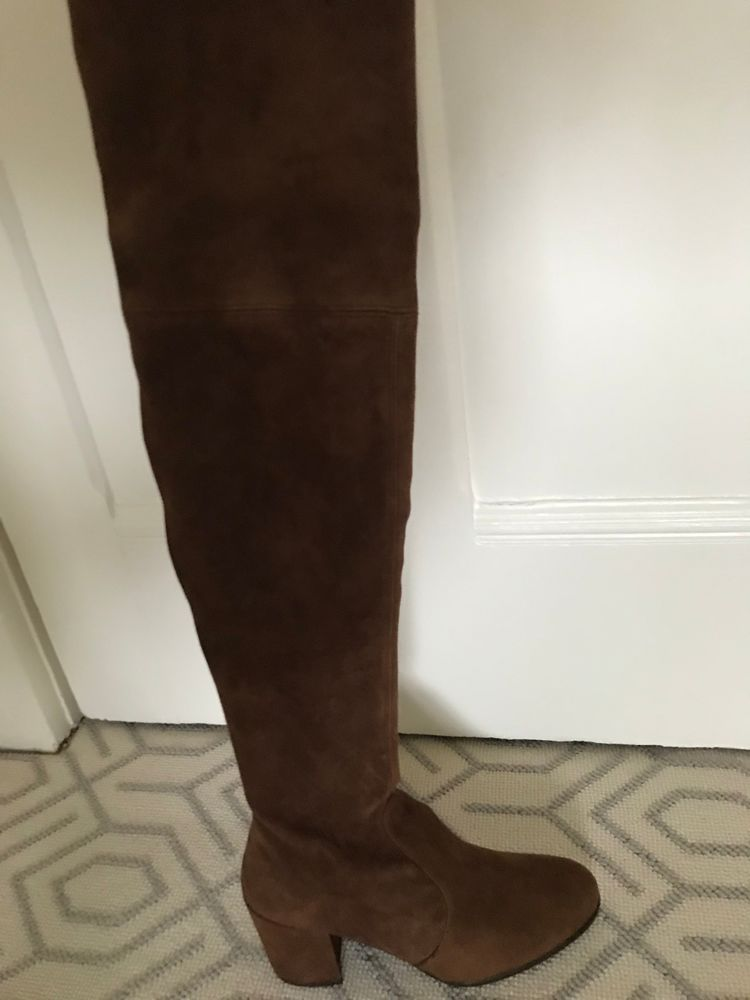 22a86830776 WOMEN S NWB STUART WEITZMAN TIELAND WALNUT SUEDE OVER THE KNEE BOOTS SZ 8.5   fashion