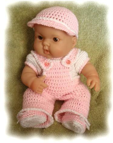 Crochet Pattern For 14 To 15 Inch Berenguer Overall Set Crochet