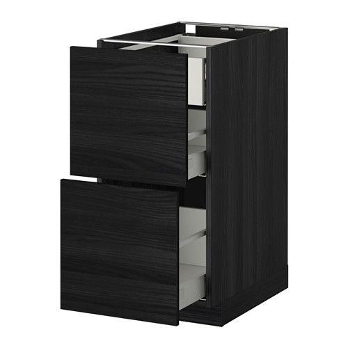 METOD / MAXIMERA Pöytäkaap 2 esrj/2 ke/1 ko lt - puukuvioitu musta, Tingsryd puukuvioitu musta, 40x60 cm - IKEA
