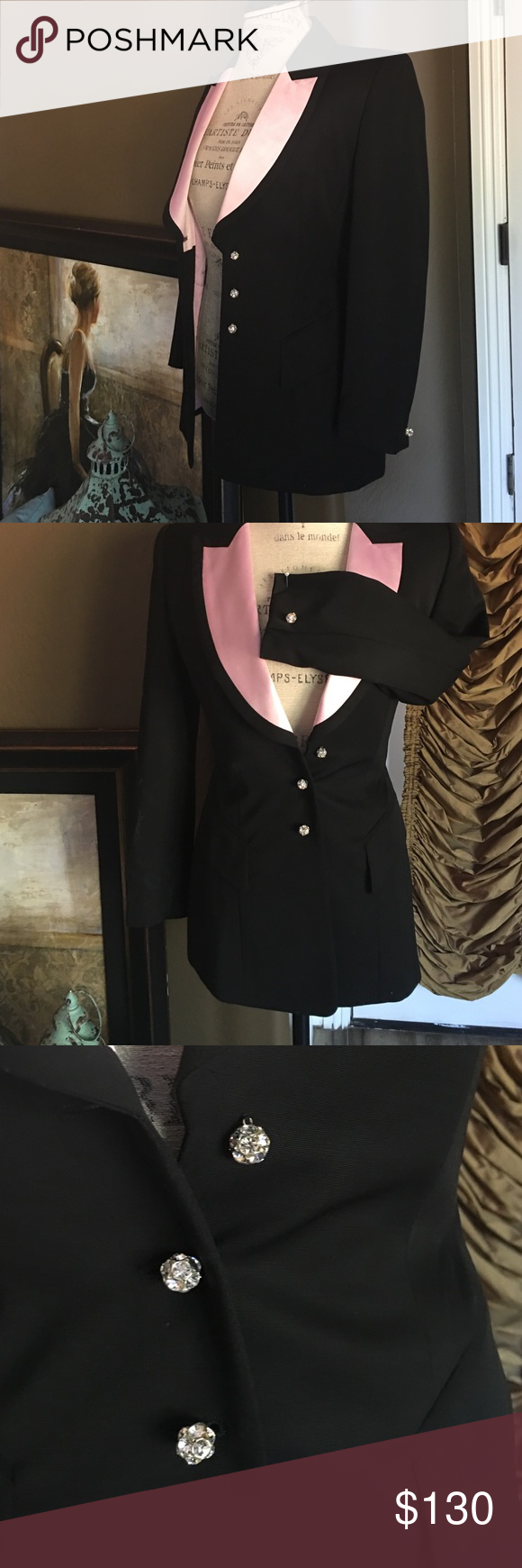 Escada dressey blazer Beautiful black and pink the Scotto blazer with three stones button down in the front and one on each sleeve great for work or even the night out or for every day where Escada Jackets & Coats Blazers