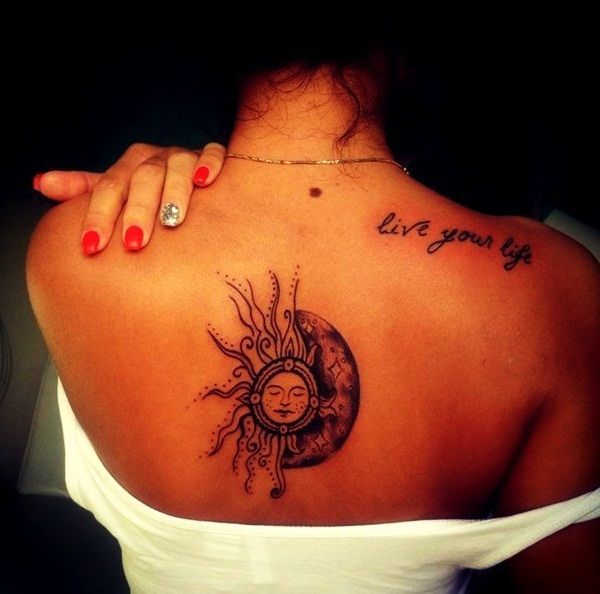 Tattoo For Woman On The Back: Tattoo Upper Back Tattoos Upper Back Tattoo Women Sun Moon