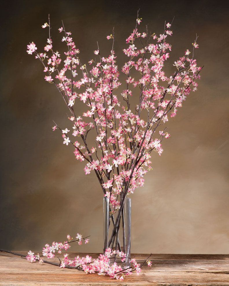 Cherry blossom silk flower stem cherry blossoms and silk for Artificial cherries decoration