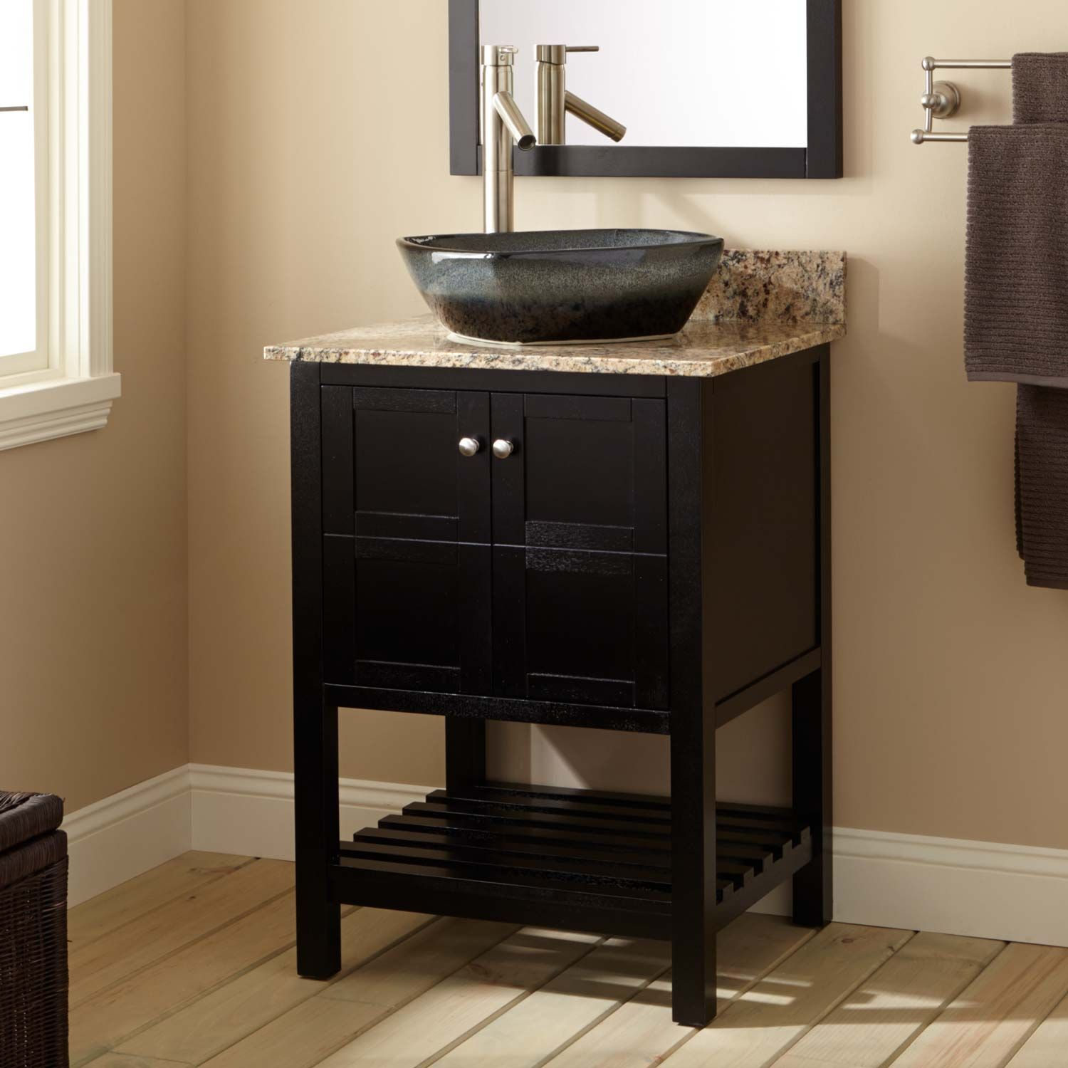 "24"" Everett Vessel Sink Vanity - Black"