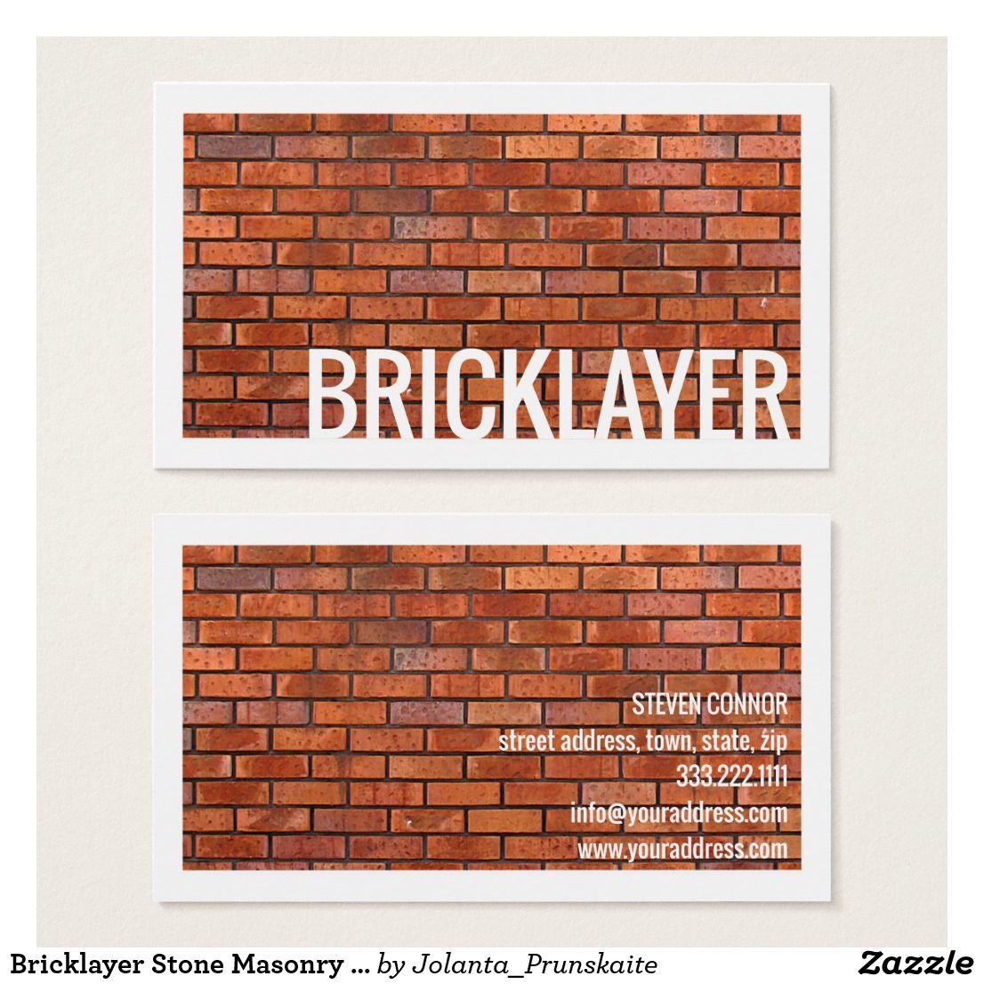 Bricklayer Stone Masonry White Border Card