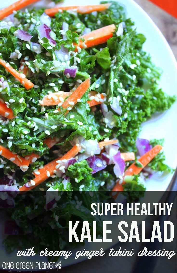 Super Healthy Kale Salad with Creamy Tahini Ginger Dressing http://onegr.pl/1bZTVHr #vegan #recipe #healthy #superfood
