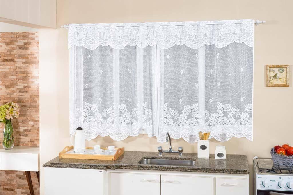 Belíssima cortina de renda para deixar sua cozinha mais bonita ...