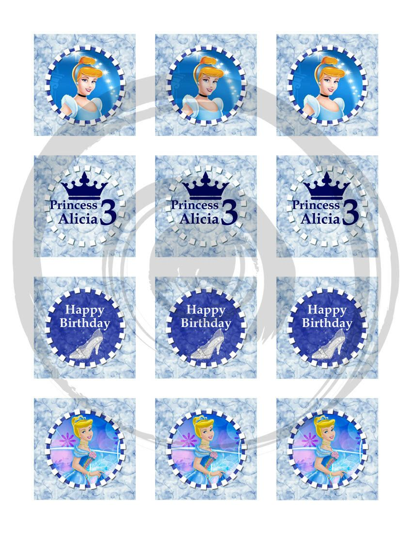 Cinderella happy birthday cupcake toppers 2 inch images