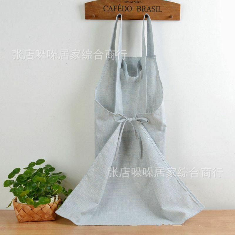 Women Sleeveless Bib Aprons Cotton Linen Solid Pinafore Dress Home Florist Soft