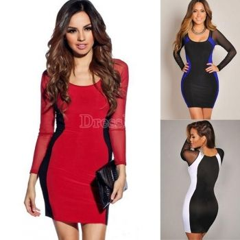 Black white hourglass mesh long sleeved bodycon dress