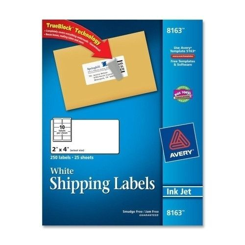 Avery Consumer Products Inkjet Labels, Shipping, Permanent, 2\