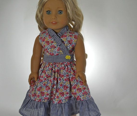 18 inch doll clothes  Pink Flower Blue Gingham by thesewingshed