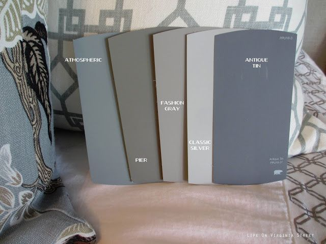 Paint Colors - Behr's: Atmospheric, Pier, Fashion Gray, Classic Silver and Antique Tin.