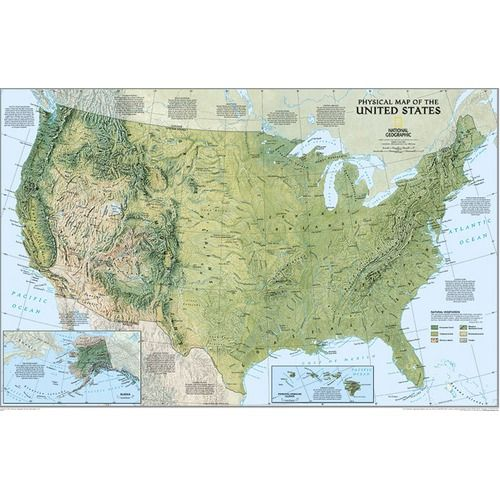 National Geographic Maps The United States Physical Map Basic ...