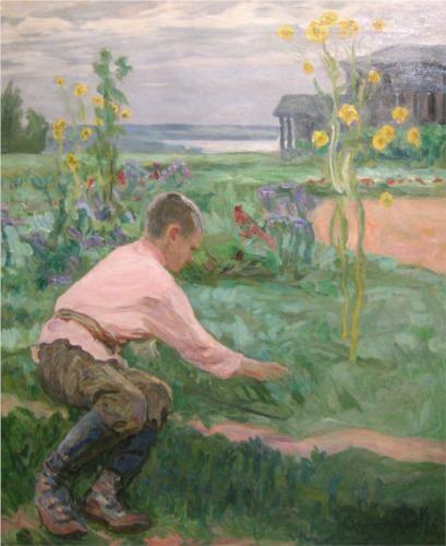 Boy on a Grass - Nikolay Bogdanov-Belsky