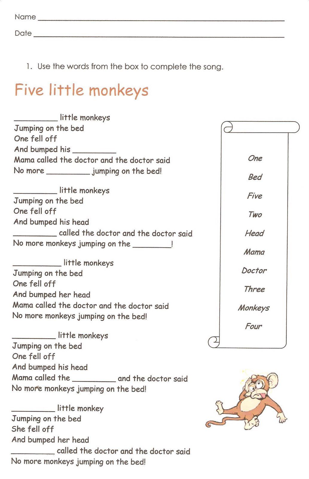 small resolution of Monkeys English reading writing worksheet   First grade worksheets