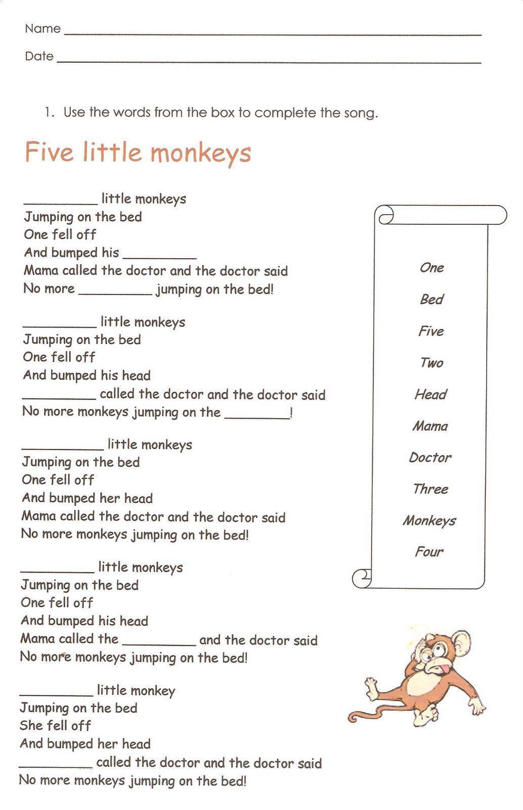 Monkeys English reading writing worksheet   First grade worksheets [ 1600 x 1034 Pixel ]