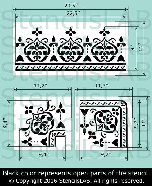 Border Stencil Unique For Furniture Decor Wall Renewal Stencilstencil Size 23 5 W X 11 H 1st Corner 7