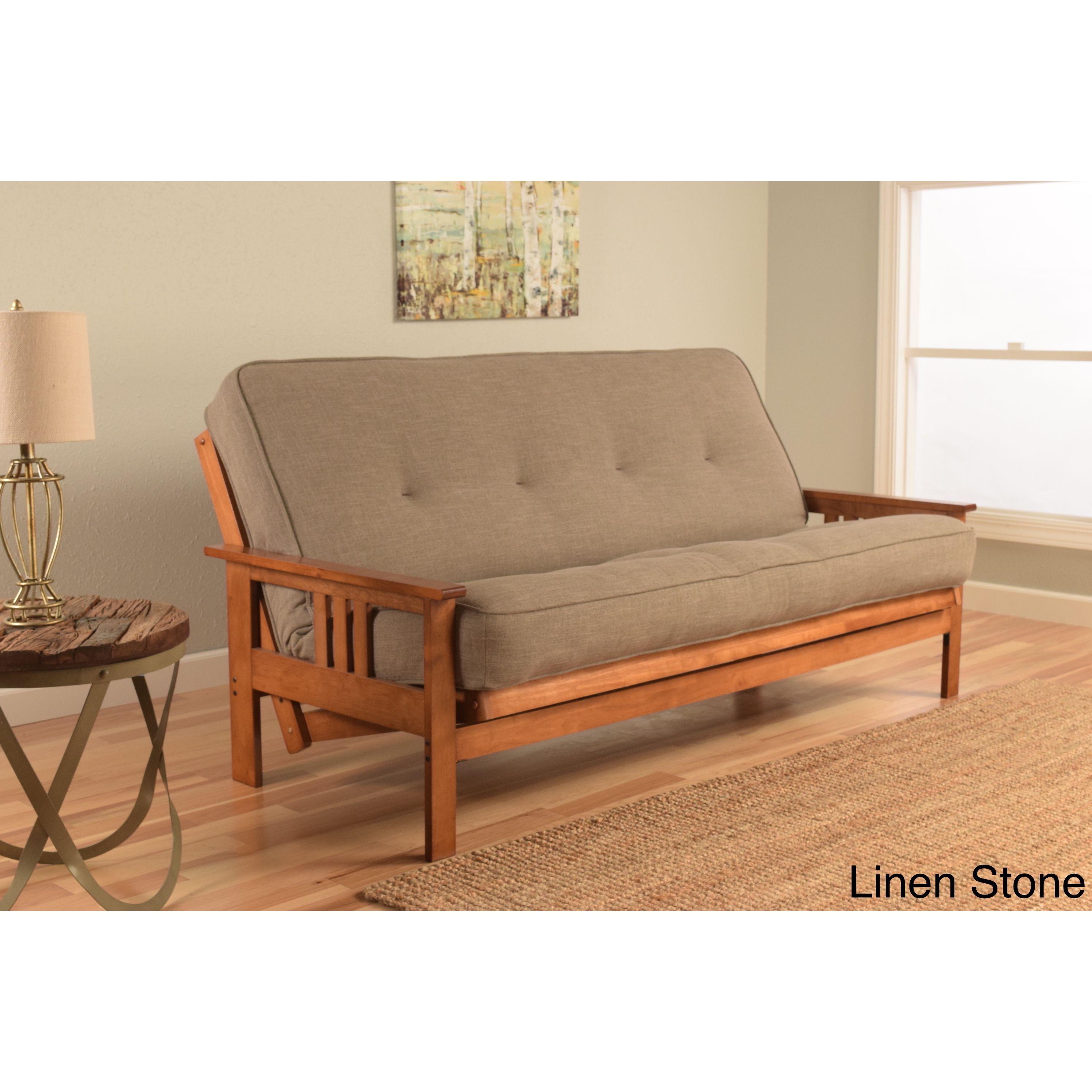 Somette Beli Grey/Brown Linen/Wood Futon (Linen   Products   Pinterest