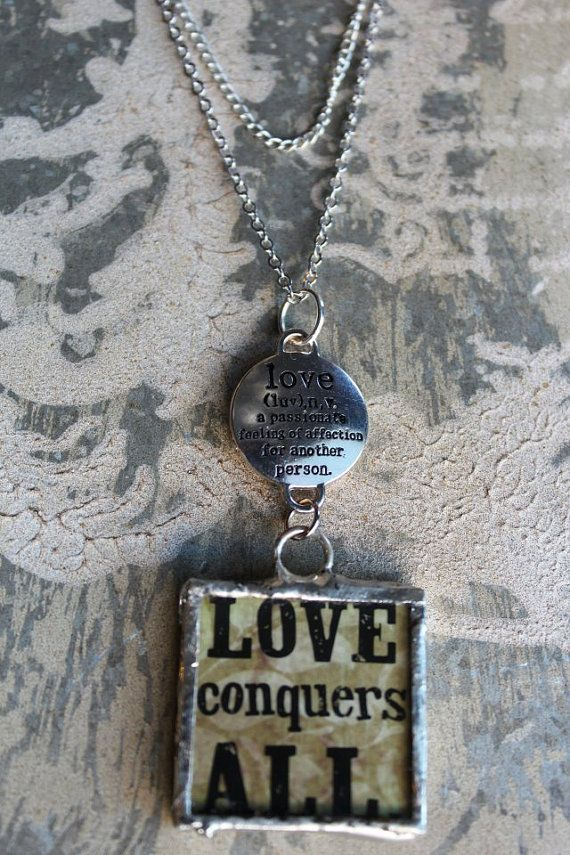 Love Conquers All necklace by HaveFaithDesigns on Etsy