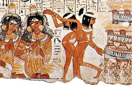Egyptian dancing, detail from a tomb painting from Shaykh ʿAbd al ...