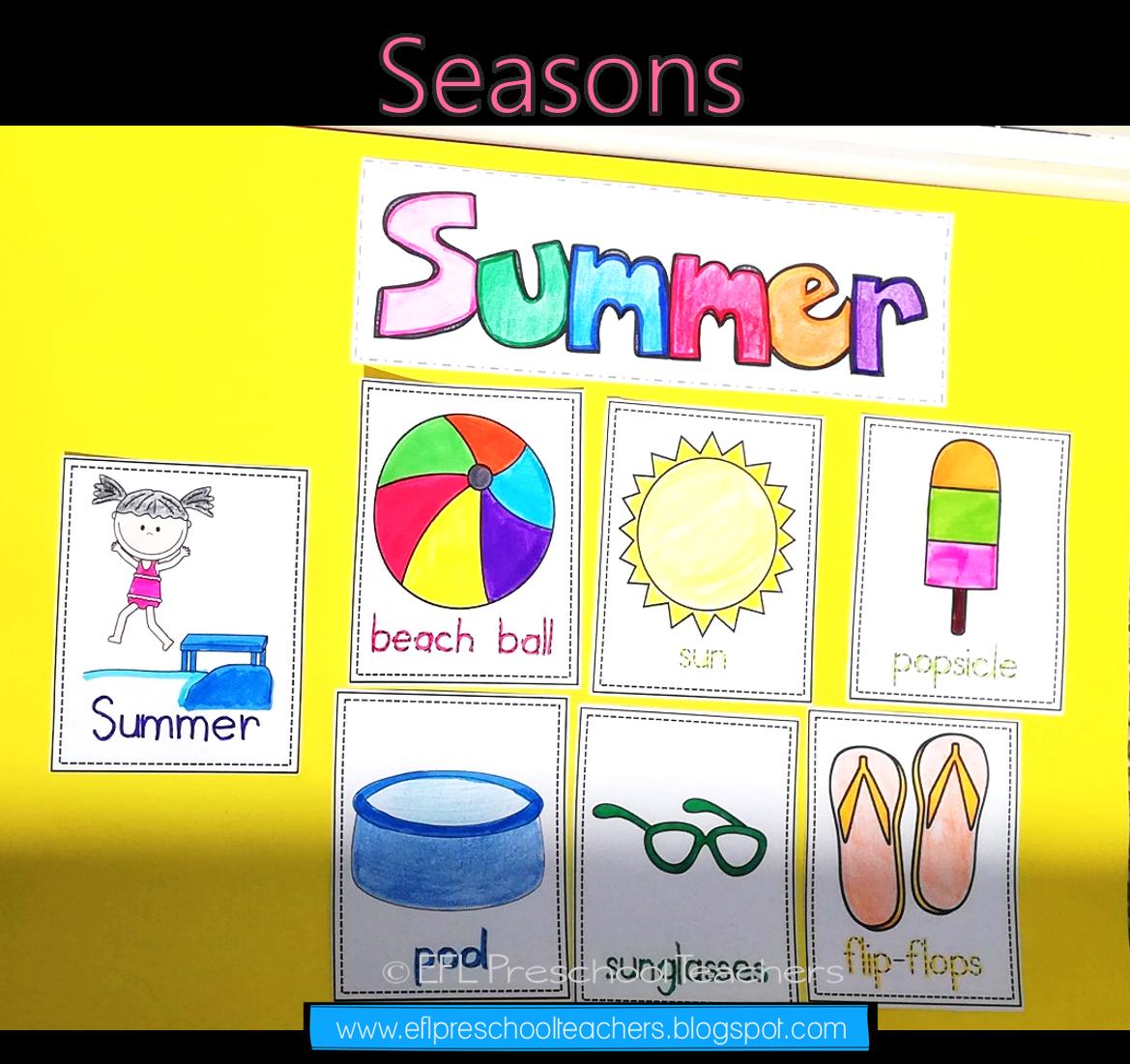 Seasons Unit Worksheets For Preschool Esl In