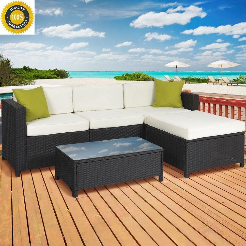 Details about outdoor yard patio pc rattan wicker sectional sofa