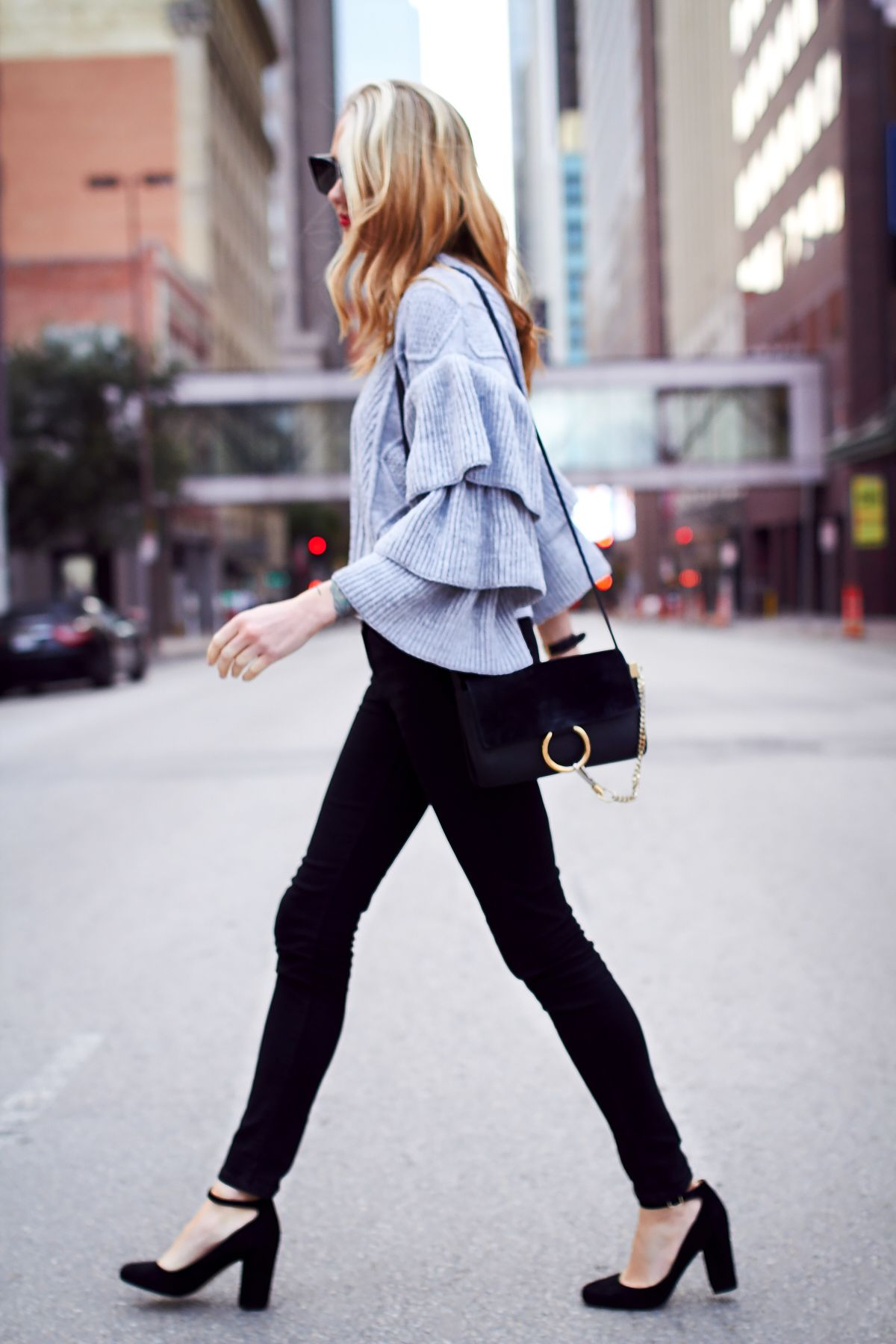 Fall Outfit, Winter Outfit, Grey Ruffle Sleeve Sweater, Black Skinny Jeans,  Black