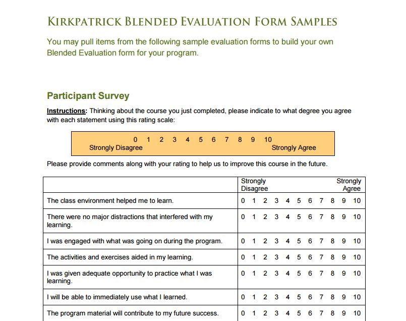 Sample Course Evaluation Forms Evaluation Form Examples Evaluation