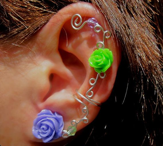 Non Pierced Ear Cuff  Roses are Fun by ArianrhodWolfchild on Etsy, $12.00