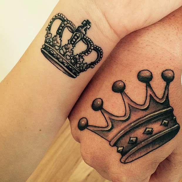 51 King And Queen Tattoos For Couples Crown Tattoo Design