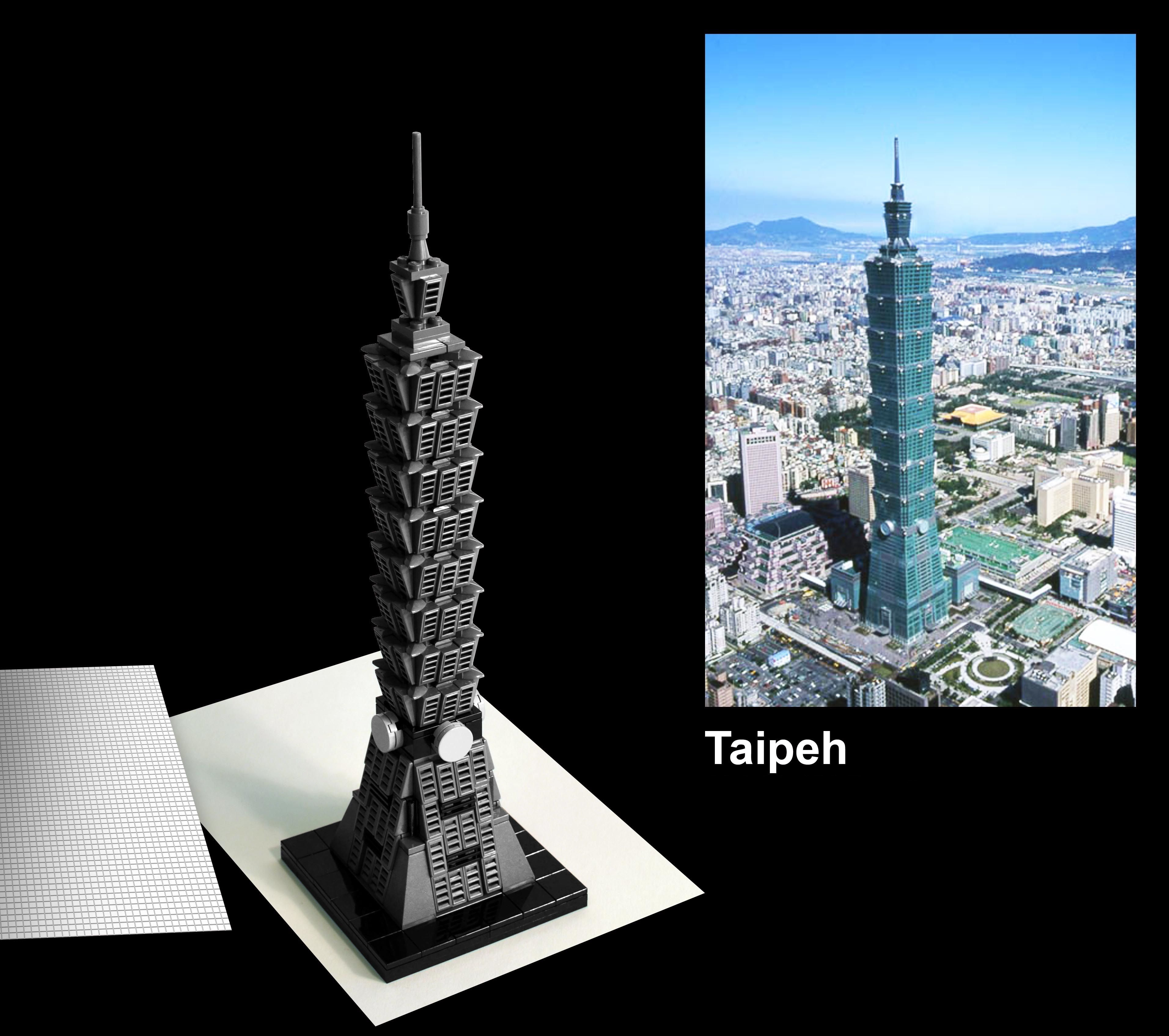 Taipei 101, é um arranha-céu de 101 andares, localizado em Taipei, Taiwan. Projetado por C. Y. Lee e construído por KTRT Joint Venture. Foi considerado uma das Novas Sete Maravilhas do Mundo Moderno (2006) e uma das Sete Maravilhas de Engenharia (2005).  Seu estilo combina a tradição e modernidade da cultura asiática e internacional num único projeto. Suas características de segurança permitem-lhe suportar tufões e terremotos.  #AmoLego