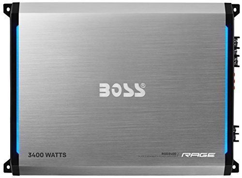 BOSS AUDIO RGD3400 Rage 3400-Watt Monoblock, Class D 1 to 8 Ohm Stable Monoblock Amplifier with Remote Subwoofer Level Control. 3400 W MAX Power, 1 Channel 2550 W X 1 RMS @ 1 ohm 1275 W X 1 RMS @ 2 ohm 638 W X 1 RMS @ 4 ohm 5100 W X 1 RMS Strapped Bridged Power @ 2 ohm. Monoblock, Class D, MOSFET Power Supply. Low Level Inputs, RCA Pre-amp Outputs. Variable Low Pass Crossover, Variable Bass Boost and Variable Subsonic Filter and Switchable Phase Control. Remote Subwoofer Control. Blue...