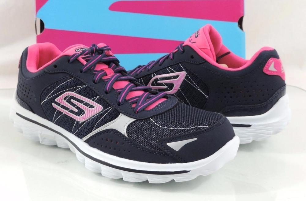 Women S Skechers Gowalk 2 Flash Lace Up Walking Sneakers Navy