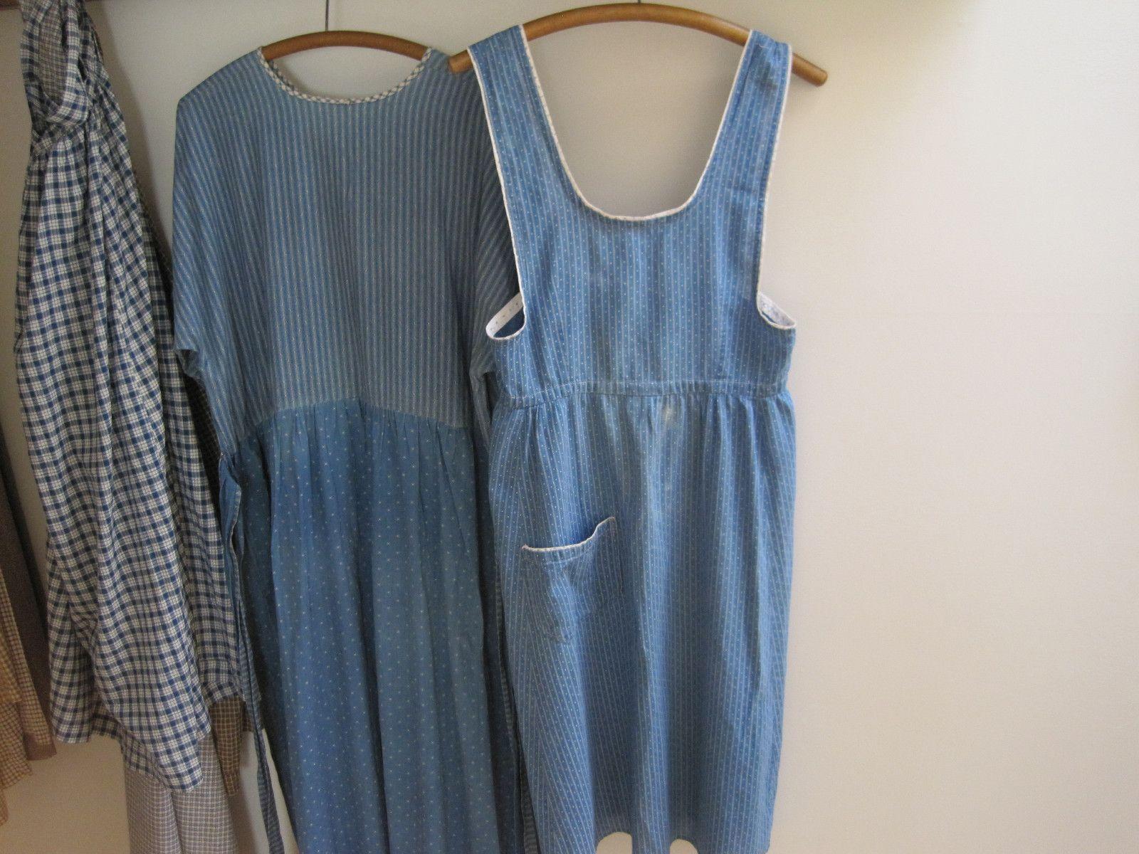 White pinafore apron ebay - Old Blue And White Calico Fabric Ladies Pinafore Apron Single Pocket Primitive Ebay