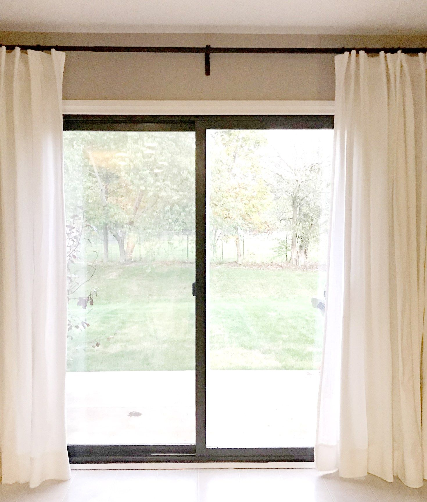 I Painted The Frame Of My Existing Sliding Door In The Same Color I Painted Al Living Room Sliding Doors Living Room Decor Curtains Sliding Glass Door Curtains