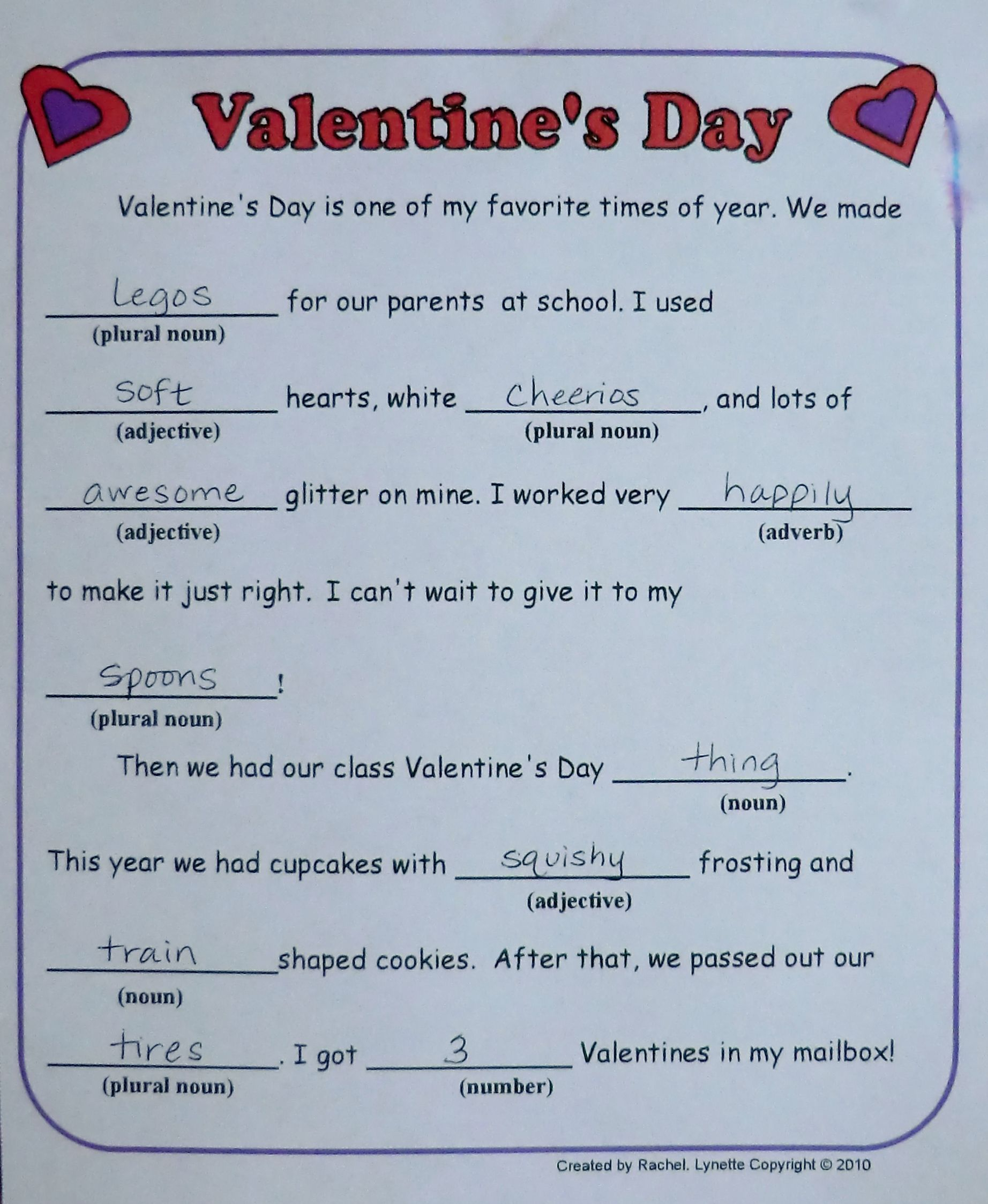 Free Valentine Mad Libs For Kids Here Is One More With