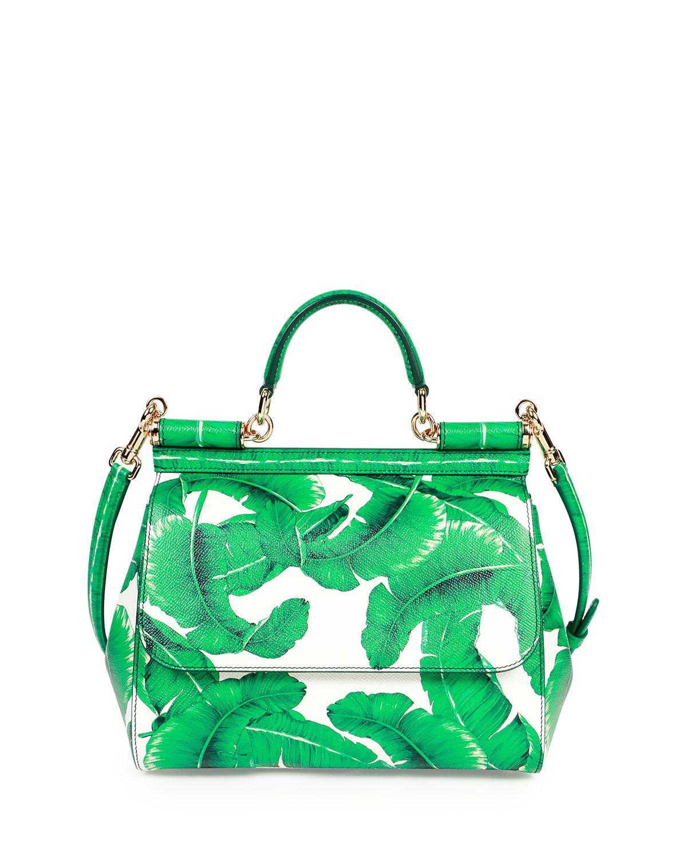 Miss Sicily Medium Leather Banana Leaf Satchel Bag, Green/White ...