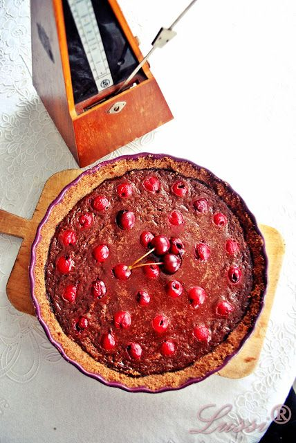 Double Chocolate Tart with Sour cherries