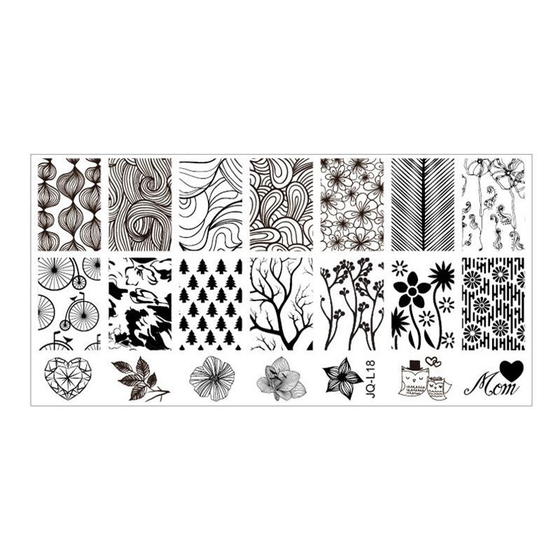 1Pcs Mix Flower And Tree Design Stainless Steel Nail Art Stamping ...